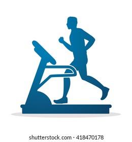 Man running on a treadmill graphic vector