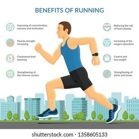 Man running outdoors. Sport fitness infographic concept. Vector illustration
