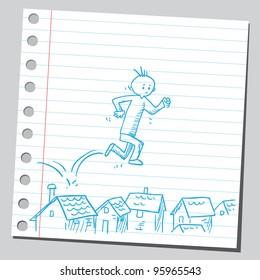 Man running over houses