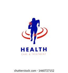 Man running silhouette, Pain and injuries Icon, Health Vector Logo/Icon