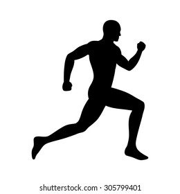 Man running / sprinting silhouette flat vector icon for exercise apps and websites