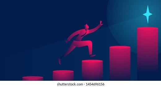 man running up stairs to the goal, star, trophy. success, achievement, challenge business concept vector illustration in red and blue neon gradients