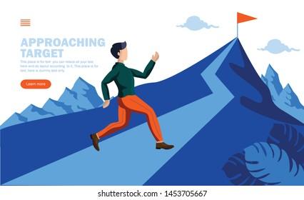 man running towards target on mountain concept vector illustration