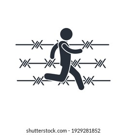 A man runs along a barbed wire fence. Search for a way out of a dangerous, difficult situation. Vector illustration isolated on white background.
