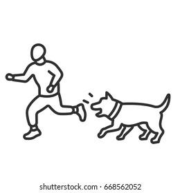 Man runs away from a barking dog