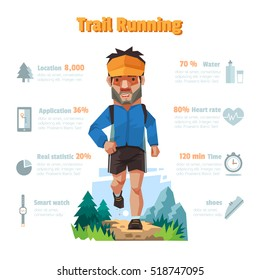 A man runs in the forest, Trail running, Info-graphic elements.