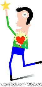 Man runs while holding heart with star burst and reaching for star