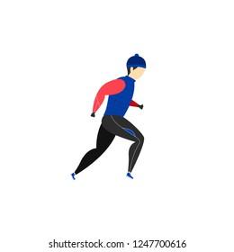 A man runs in winter clothes. Winter running. Sports activities. Vector illustration.
