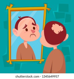 A man with a sad look is standing in front of a mirror. Bald spot on his head. Rear view and front reflection. Vector illustration in cartoon style.