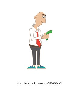 a man with a sad view counts the money. vector illustration