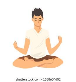 Man safe the balance with meditation, relaxation cartoon vector illustration