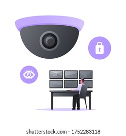 Man Safeguard Sitting at Huge Video Camera Looking at Multiple Monitors. Security Character Use Surveillance System, Technology for Protection Property, Monitoring Control. Cartoon Vector Illustration