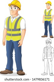 Man with Safety Gear Standing Straight, with His Arms by His Side, Cartoon Character Design, Including Flat and Line Art Designs, Vector Illustration, in Isolated White Background.