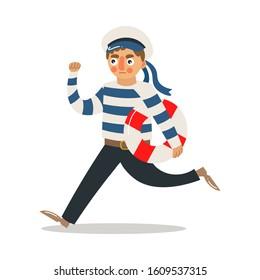 Man sailor in striped uniform running with lifebuoy vector illustration