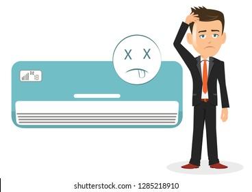 Man salesman businessman user customer thinking worried air conditioner ac not working malfunctioning damaged