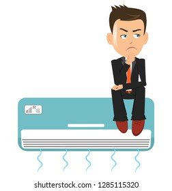 Man salesman person businessman thinking sitting over a air conditioner ac