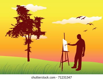 man sanding on summer lawn near tree and painting on easel, yellow sky, vector