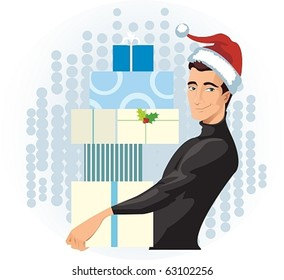man in a Santa hat with presents