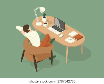 man sat and stretched while working on the desk. Isometric Illustration about working on the table.