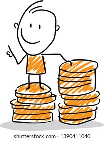 Man saving money - gold coins - bank -  isolated vector illustration outline hand drawn doodle line art cartoon design character.