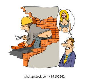 Man saw constructor bottom imagine that sees woman's decolletage