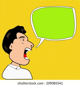 Man say with Comic Speech Bubbles