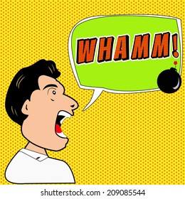 Man say whamm! with Comic Speech Bubbles