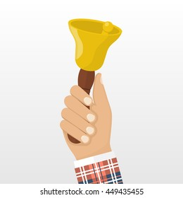Man in school uniform holding in his hand the school bell. Vector illustration flat design style. Isolated bell in hand on white background. Call for knowledge, training, learn.
