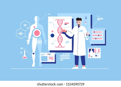 Man scientist with dna model vector illustration. Researcher conducting research with human deoxyribonucleic acid molecule in laboratory flat style design. Science concept