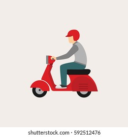 Man with scooter Design Vector