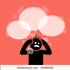Man scratching his head and hair. He is under pressure, dilemma, confusion, and in panic. He do not what to do and asking a lot of questions to himself. His hair is messed up in the chaotic moment.