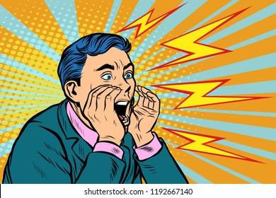 Man screaming calling, pop art retro vector illustration kitsch vintage