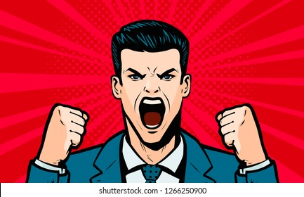 Man screaming loudly. Cartoon in pop art retro comic style, vector illustration