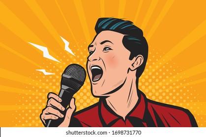 Man screaming loudly into microphone. Retro comic pop art vector illustration
