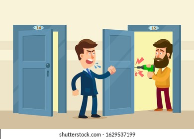 Man screams at his neighbor in apartment house as neighbor drilling wall in evening and make a loud noise. Quarrel of neighbors over loud works in apartment. Vector illustration, flat cartoon style.