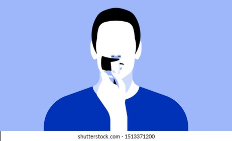 Man with a sealed mouth. Portrait of a man with tape on his lips. The concept of the right to vote, right to speak, vote, journalistic ethics and freedom of speech.