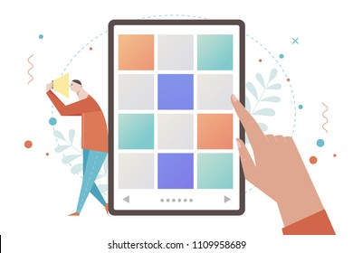 A man is searching for images on his cell phone. flat design style vector graphic illustration set