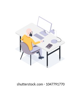 Man Seats at a Computer at His Workplace. Vector Illustration in Flat Isometric Style.