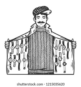Man secretly sells watches from jacket flap engraving vector illustration. Scratch board style imitation. Black and white hand drawn image.