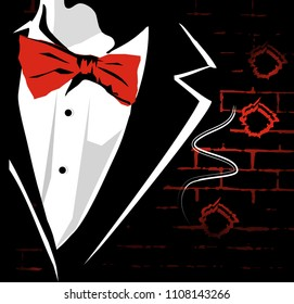 A man in a secular suit: in a coat with a red butterfly on the background of a wall of bricks with several bullet holes. Vector illustration.