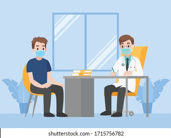 Man see doctor for check himself, Doctor consulting male patient, People wear face mask surgical protective Medical mask for prevent coronavirus. Health care concept.