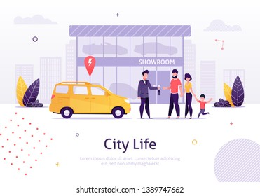 Man Selling Car to Family with Small Kid Banner Vector Illustration. Man and Woman Buying New Minivan from Showroom on Background. Store of Vehicles. Manager Giving Key to Father. City Life.