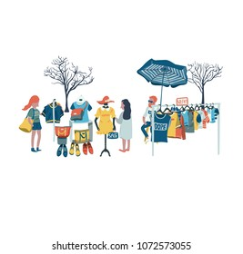 The man selling clothes and secondhand stuffs at flea market, all in colorful doodle cartoon flat design, illustration, vector, on white background