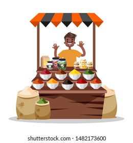 Man selling food spice. Asian colorful spices market. Man standing at the counter with exotic fresh spice. Isolated flat illustration vector