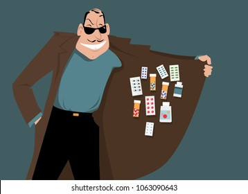 Man selling illegal or counterfeit drugs, EPS 8 vector illustration