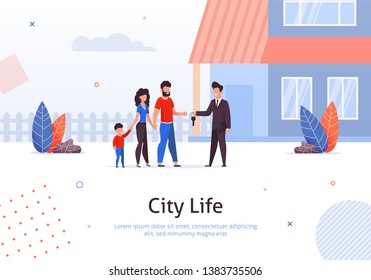 Man Selling or Renting House to Couple of Young People with Child Banner Vector Illustration. Man and Woman Buying Home. Manager Giving Key to Family. Mother, Father and Son Moving toNew Place.