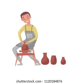 Man shaping ceramic jug on rotating pottery wheel. Young potter guy making earthenware. Professional at work. Flat vector design