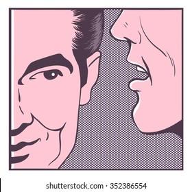 man sharing secret pop art comics vector