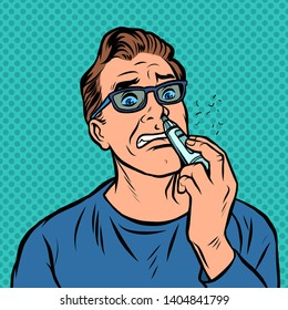 a man shaves the hair in the nose. Comic cartoon pop art retro illustration drawing