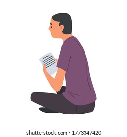 Man with Sheet of Paper Sitting on the Floor, Man Chatting Online via the Internet or Talking Face to Face, E-learning Concept Vector Illustration